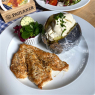 """Fitness plate"" grilled chicken breast with herb butter, baked potato, garnished with sour cream, with side salad"