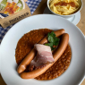 Lentil plate served with 1 pair of Wiener sausages (140 g.), Smoked meat and butter spaetzle
